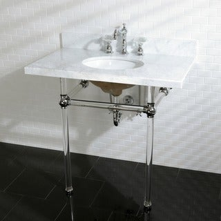 Vintage Carrara Marble 36-inch Console Sink and Acrylic Stand