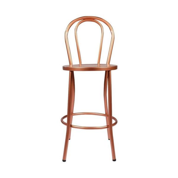 Copper French Counter Stool With Curved Back Free
