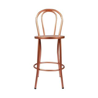 Copper French Counter Stool with Curved Back
