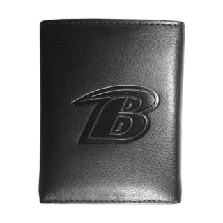 NFL Sports Team Baltimore Ravens Embossed Tri-fold Black Leather Wallet