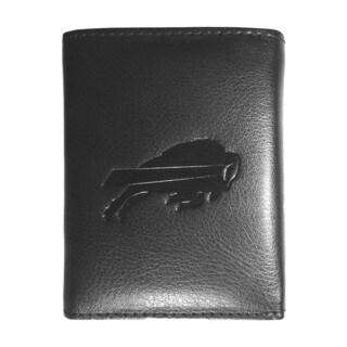 NFL Sports Team Buffalo Bills Embossed Tri-fold Black Leather Wallet