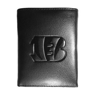 NFL Sports Team Cincinnati Bengals Embossed Tri-fold Black Leather Wallet