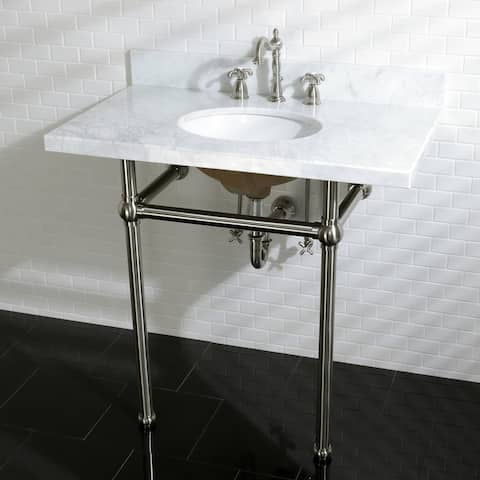 Vintage Carrara Marble 36-inch Console Sink with Metal Stand