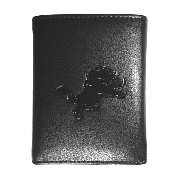NFL Sports Team Detroit Lions Embossed Tri-fold Black Leather Wallet