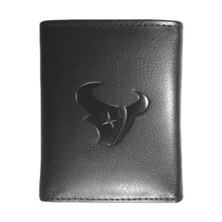 NFL Sports Team Houston Texans Embossed Tri-fold Black Leather Wallet