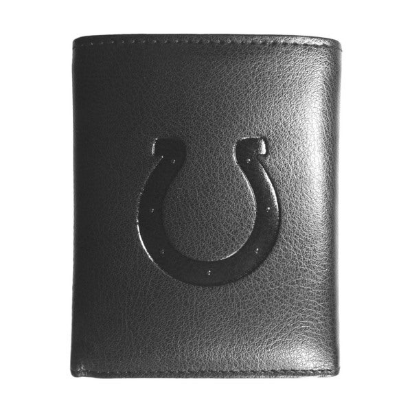 NFL Sports Team Indianapolis Colts Embossed Tri-fold Black Leather Wallet