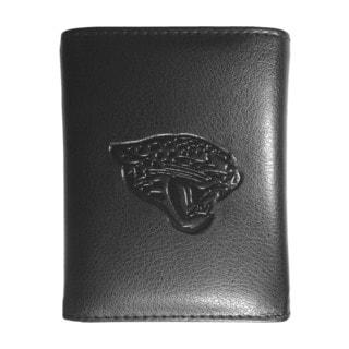 NFL Sports Team Jacksonville Jaguars Embossed Tri-fold Black Leather Wallet