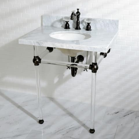 Vintage Carrara Marble 30-inch Console Sink and Acrylic Stand
