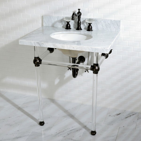 good 30 Inch Console Sink Part - 1: Vintage Carrara Marble 30-inch Console Sink and Acrylic Stand