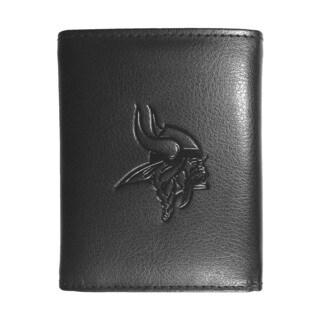 NFL Sports Team Minnesota Vikings Embossed Tri-fold Black Leather Wallet
