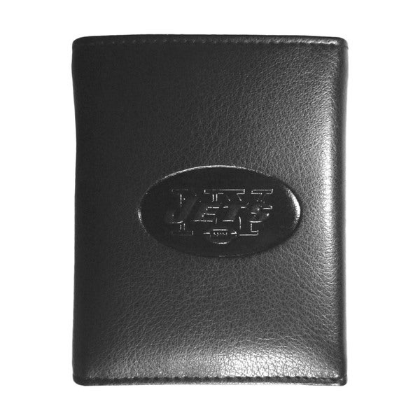 NFL Sports Team New York NY Jets Embossed Tri-fold Black Leather Wallet
