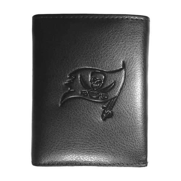 NFL Sports Team Tampa Bay Bucaneers Embossed Tri-fold Black Leather Wallet
