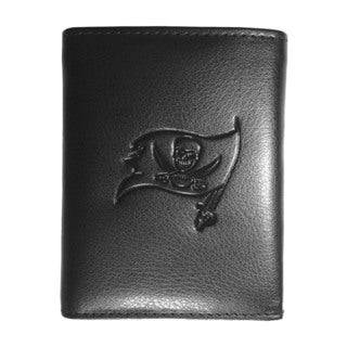 NFL Sports Team Tampa Bay Bucaneers Embossed Tri-fold Black Leather Wallet