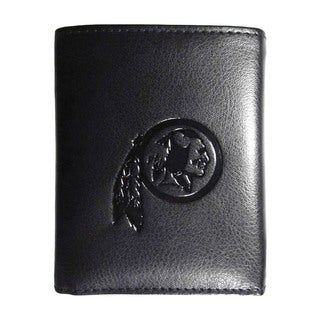 NFL Sports Team Washington Redskins Embossed Tri-fold Black Leather Wallet