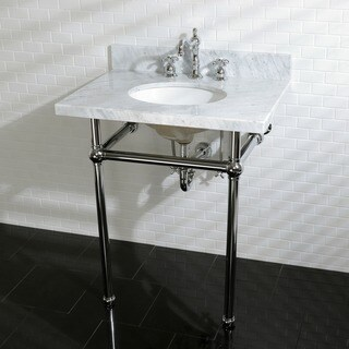 Vintage Carrara Marble 30-inch Console Sink and Metal Stand (3 options available)