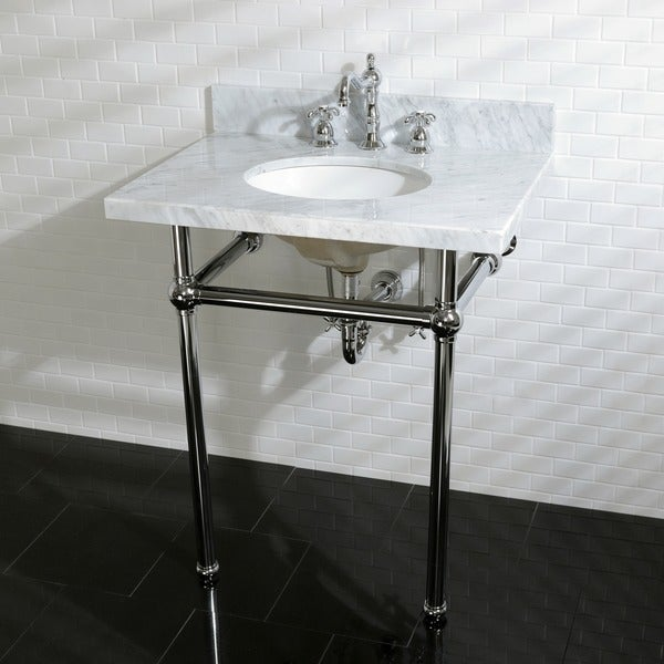 awesome 30 Inch Console Sink Part - 2: Vintage Carrara Marble 30-inch Console Sink and Metal Stand