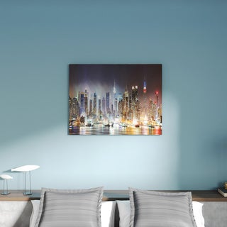Lit NYC Manhattan Skyline' Cityscape Photo Canvas Print