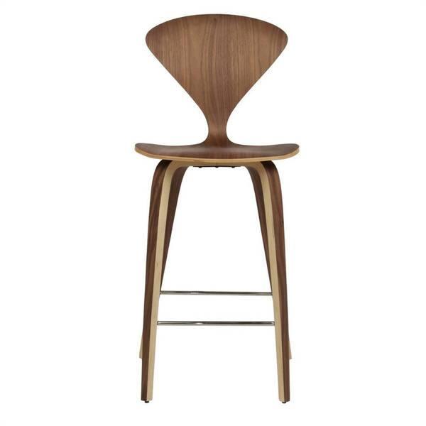 Sensational Modern Molded Walnut Wood Counter Stool Beatyapartments Chair Design Images Beatyapartmentscom