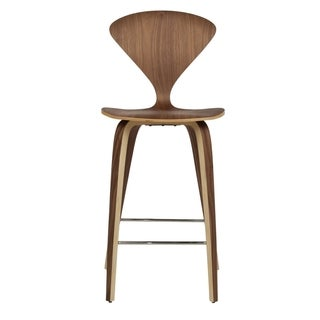 Modern Molded Walnut Wood Counter Stool