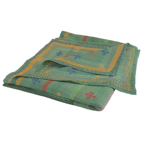 Kantha Indian Handmade Embroidered Bedspread Quilt Green (India)