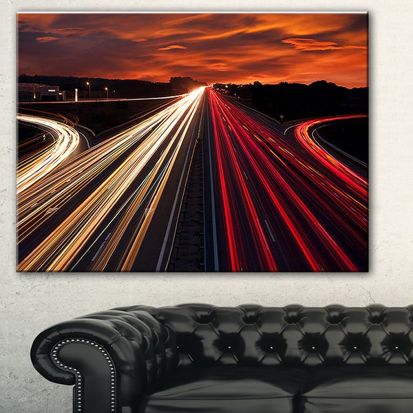 Speed Traffic Trails' Cityscape Digital Art Canvas Print - Red