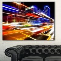 High Speed Traffic Trails' Cityscape Digital Art Canvas Print - YELLOW