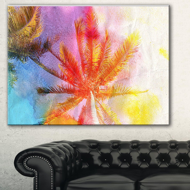 Reflective Retro Palm Trees' Landscape Painting Canvas Print - Blue