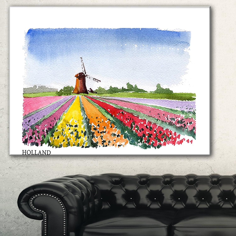 "canvas vintage art print  Blue dutch    32/"" x 20/"" holland rotterdam painting"