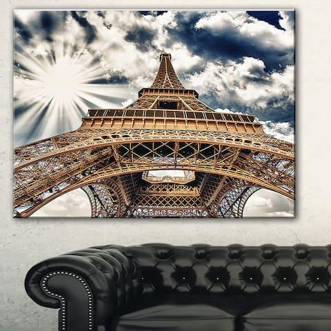 Fisheye View of Eiffel Tower' Cityscape Digital Art Canvas Print - Brown