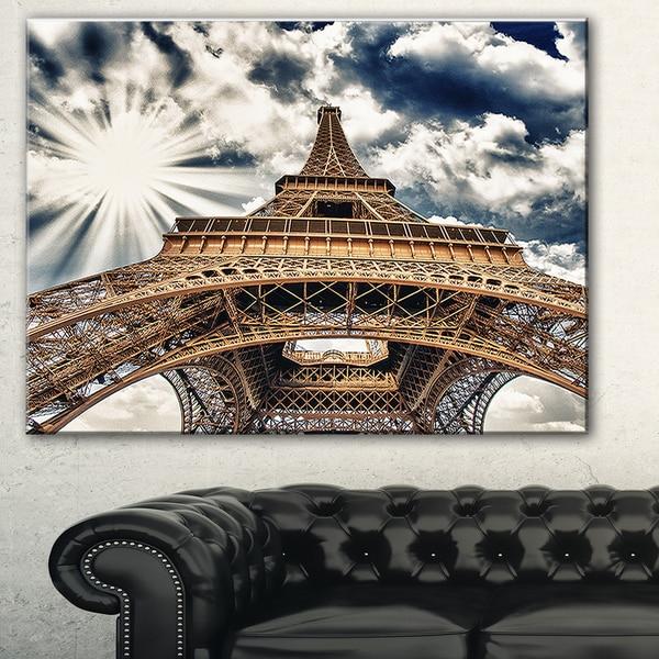 Fisheye View of Eiffel Tower' Cityscape Digital Art Canvas Print - Brown. Opens flyout.