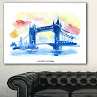London Hand'drawn Illustration' Cityscape Painting Canvas Print - Green
