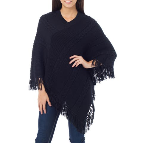 Handmade Alpaca Blend 'Double Black Braids' Poncho (Peru)