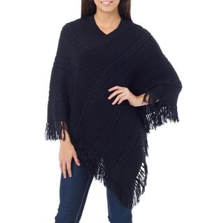 Alpaca Blend 'Double Black Braids' Poncho (Peru)