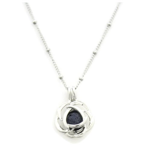 Blossom Silver Rose Essential Oil Diffuser 316L Ball Station 18-inch Chain Necklace