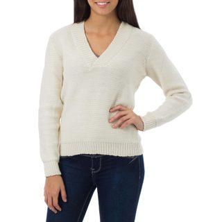Alpaca Blend 'Casual Ivory' Sweater (Peru)