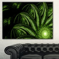 Strange Green Flower' Floral Digital Art Canvas Print