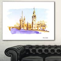 London Brown Illustration' Cityscape Painting Canvas Print