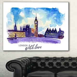 London Purple Illustration' Cityscape Painting Canvas Print