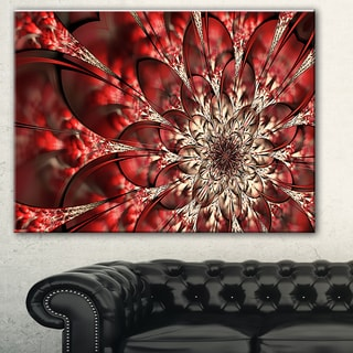 Red Symmetrical Flowers Pattern' Floral Canvas Art Print