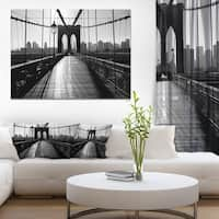 Dark Brooklyn Bridge' Cityscape Photo Canvas Print