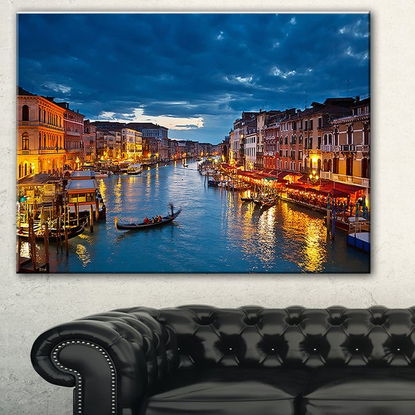 Grand Canal at Night Venice' Cityscape Photo Canvas Print