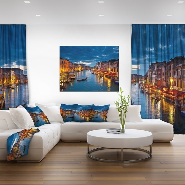 Grand Canal at Night Venice' Cityscape Photo Canvas Print - Blue