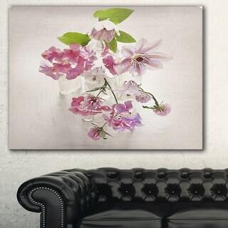 Vintage Pink Flowers' Floral Art Painting Canvas Print