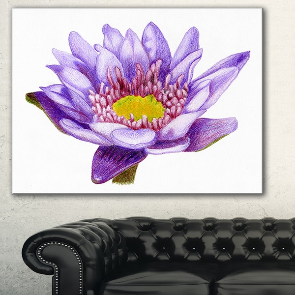 Hand'drawn Purple Lotus' Floral Art Canvas Print