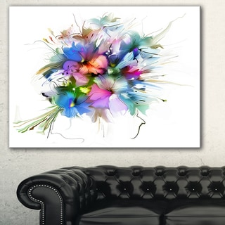 Summer Colorful Flowers' Watercolor Painting Canvas Print