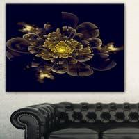 Golden Metallic Fractal Flower' Digital Art Canvas Print - GOLD