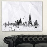 Paris with Eiffel Silhouette' Cityscape Painting Canvas Print - White