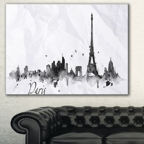 Paris with Eiffel Silhouette' Cityscape Canvas Print - White