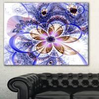 Blue Light Fractal Flower' Digital Art Floral Canvas Print