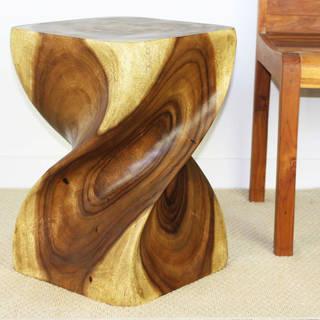 Handmade Antique Oak Oil Big Twist Wood Stool Table (Thailand) - 14 x 14 x 20 inches High